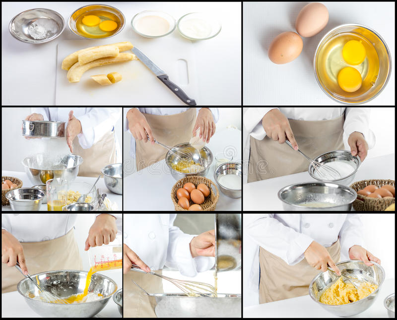 做香蕉的厨师结块 库存图片