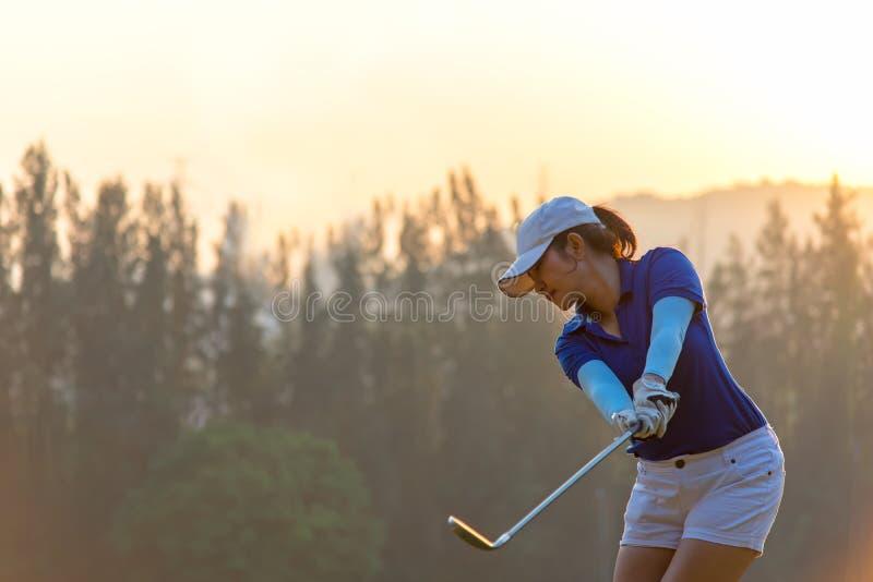 做高尔夫球摇摆发球区域在绿色日落晚上时间的亚裔女子高尔夫球运动员, 库存照片