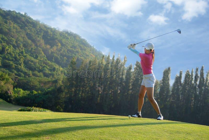 做高尔夫球摇摆发球区域在绿色晚上时间的亚裔女子高尔夫球运动员,她据推测行使 免版税库存图片