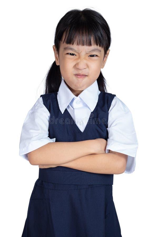 做鬼脸的亚裔矮小的中国女孩 免版税图库摄影