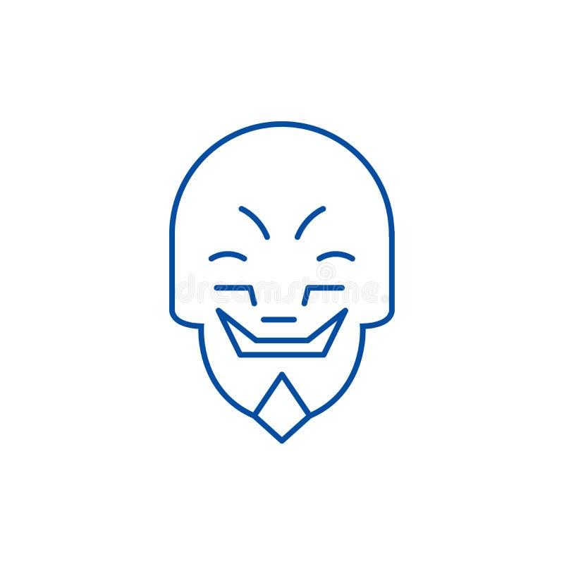 做鬼脸的面具emoji线象概念 做鬼脸的面具emoji平的传染媒介标志,标志,概述例证 皇族释放例证
