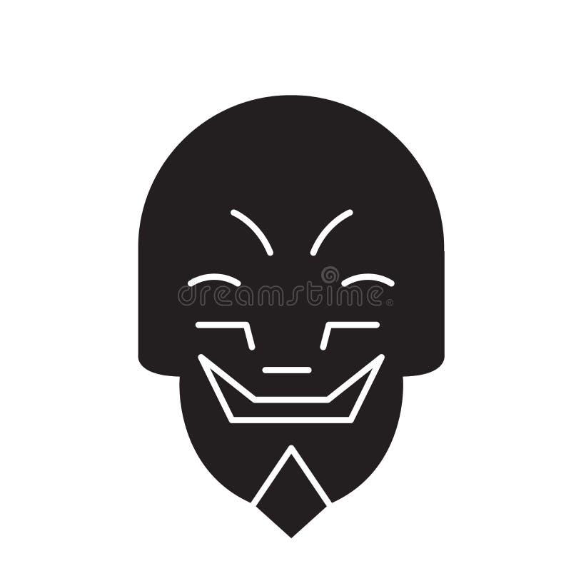做鬼脸的面具emoji黑色传染媒介概念象 做鬼脸的面具emoji平的例证,标志 向量例证
