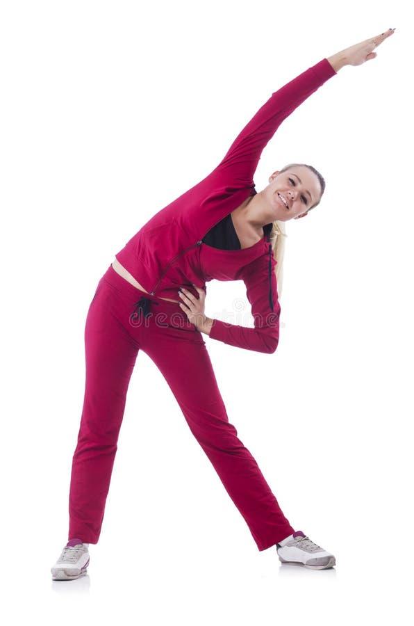 做锻炼的少妇 免版税库存照片