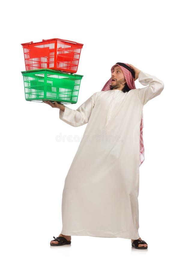 做购物的阿拉伯人隔绝在白色 库存图片
