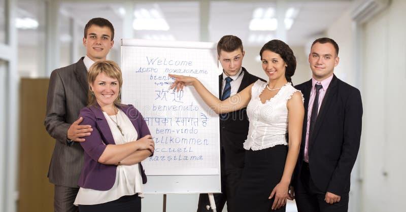 做介绍的公司业务教练员 免版税库存图片
