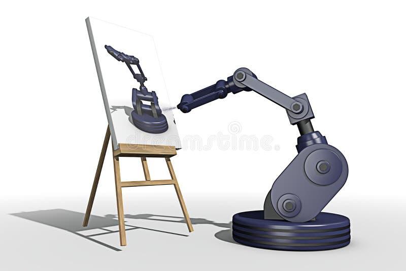 做绘画的机器人 向量例证