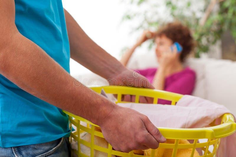 做洗衣店的人 库存照片