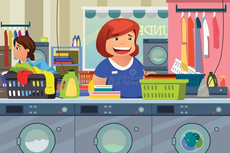 做洗衣店的妇女在洗衣店地方 库存例证