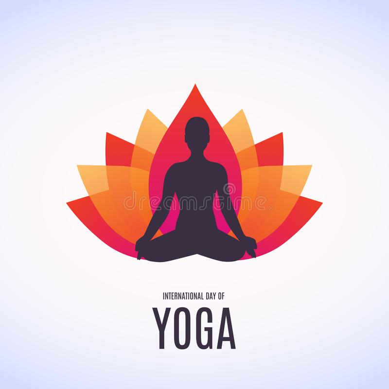 做asana的妇女的例证为6月的21日国际瑜伽天 向量例证