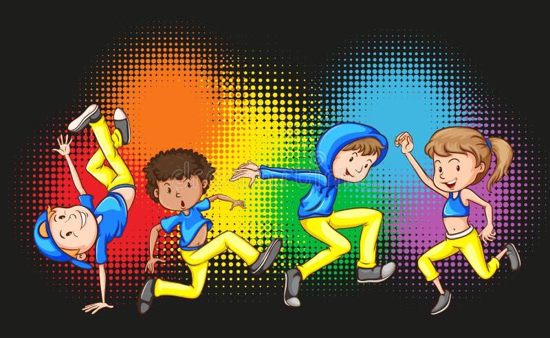 做Hip Hop舞蹈的孩子 向量例证