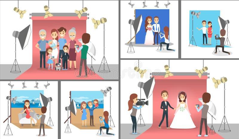 做photoshoot集合的幸福家庭 婚礼和怀孕 皇族释放例证