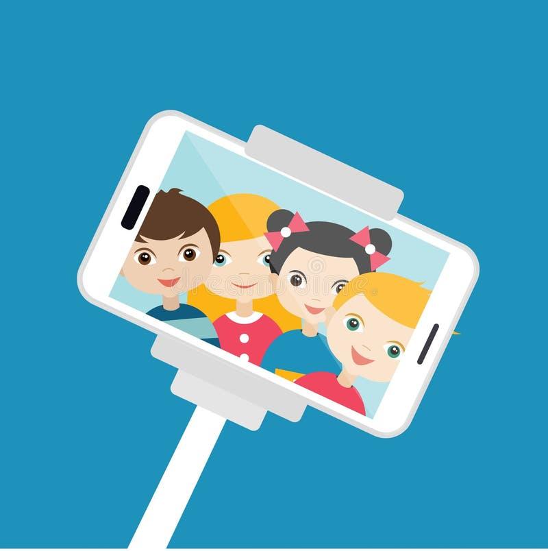 做selfie照片的孩子 向量例证