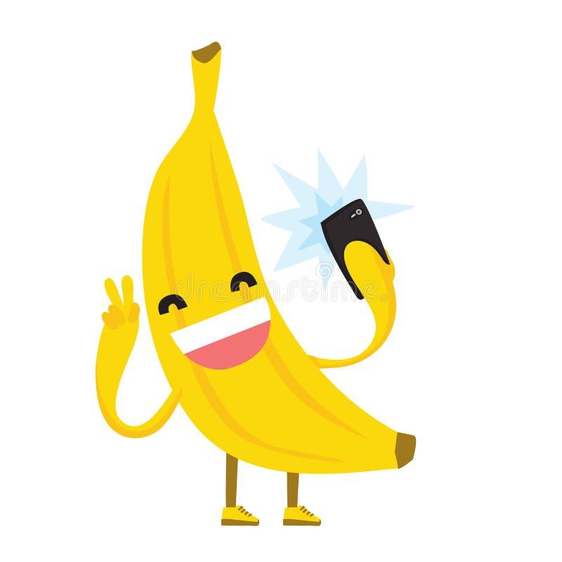做selfie照片的逗人喜爱的kawaii黄色香蕉使用手机隔绝了传染媒介例证 皇族释放例证