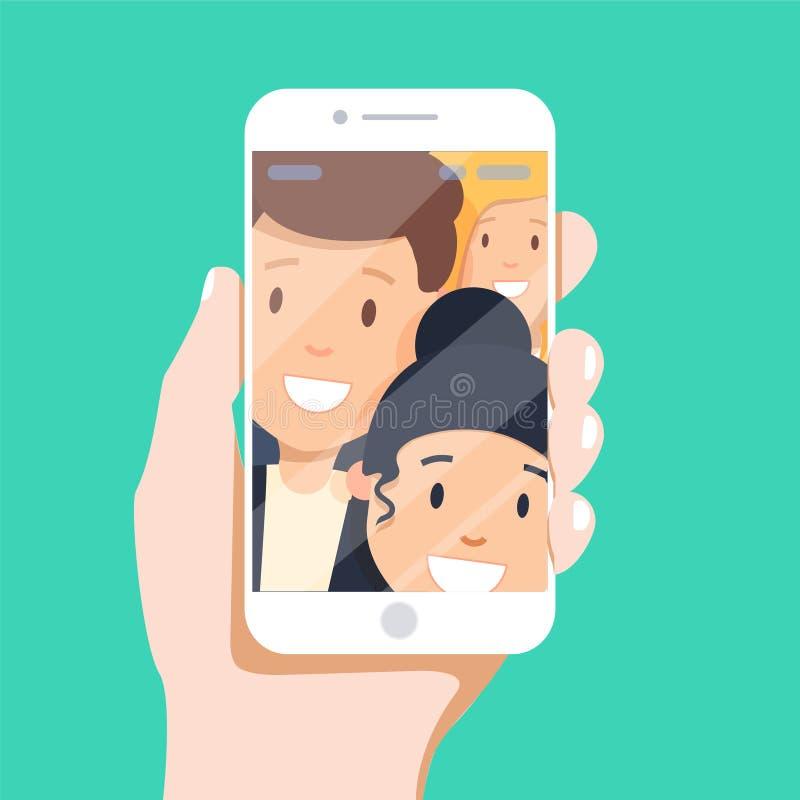 做selfie的人 做selfie的最好的朋友的图片在流动或巧妙的电话,当花费业余时间时 库存例证