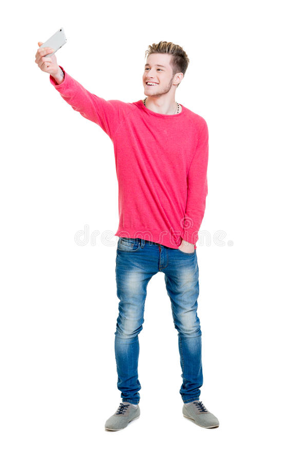 做selfie的十几岁的男孩 免版税图库摄影