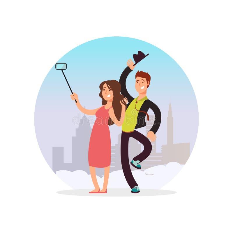 做selfie的愉快的夫妇 做照片的漫画人物男人和妇女 库存例证