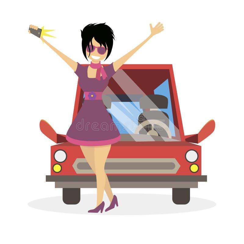 做selfie的社交名流fashionista女孩在汽车附近 妇女clubber 字符传染媒介平的例证人民 向量例证