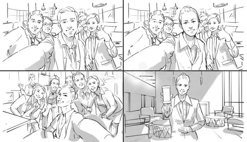 做selfies的男人和妇女在办公室 免版税库存照片