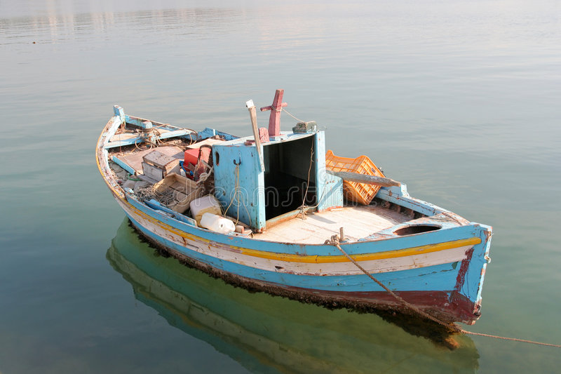 停住的小船捕鱼一点 免版税图库摄影