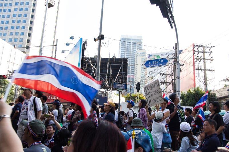 停工曼谷- 2014年1月13日 免版税库存图片