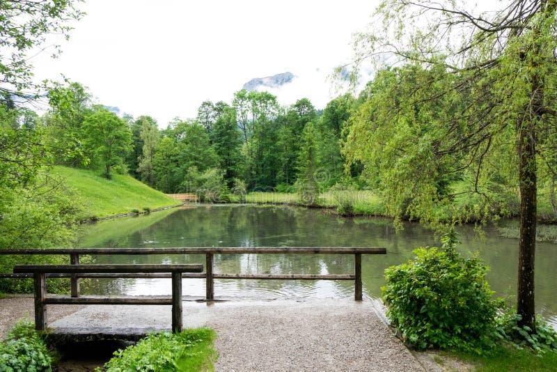停放与小湖,感到平安并且放松 免版税库存照片
