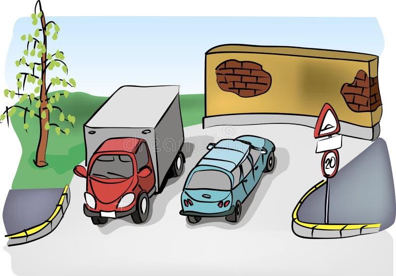 停放两辆汽车的城市 向量例证