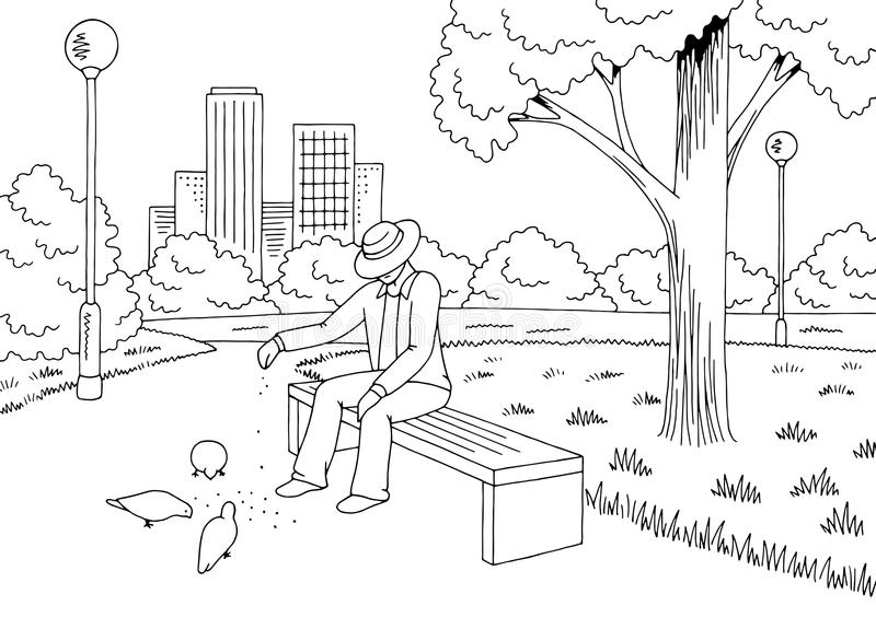 停放图表黑白色长凳灯风景剪影例证传染媒介 老人哺养的鸟 皇族释放例证