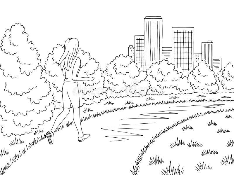 停放图表黑白色风景剪影例证传染媒介 活动好处在哪里是竞争的挑战可能集中女孩目标图象刺激运行出售服务情形成功的人产品使用 向量例证