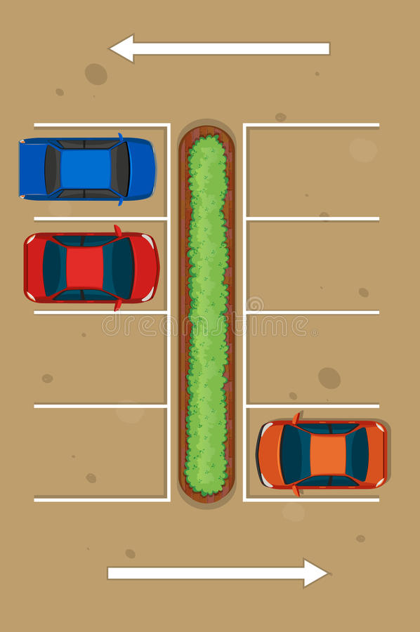 停放在停车场的三辆汽车顶视图  向量例证