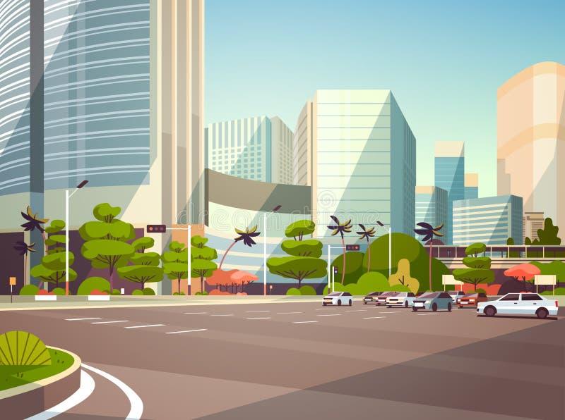 停放在摩天大楼大厦现代都市风景背景水平的舱内甲板的城市汽车 向量例证