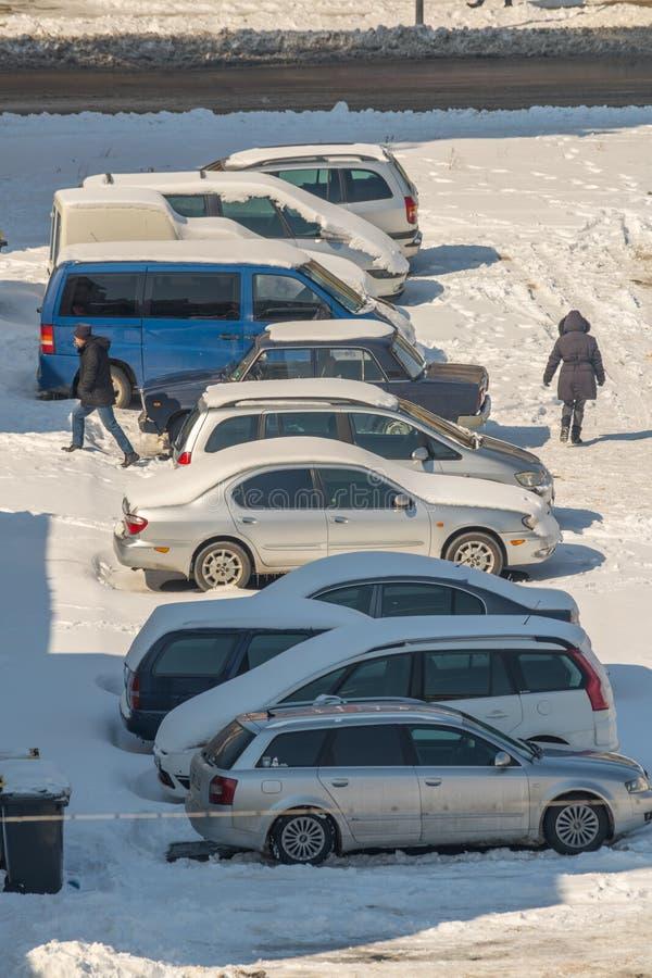 停放在波摩莱 雪,冬天,保加利亚 免版税图库摄影