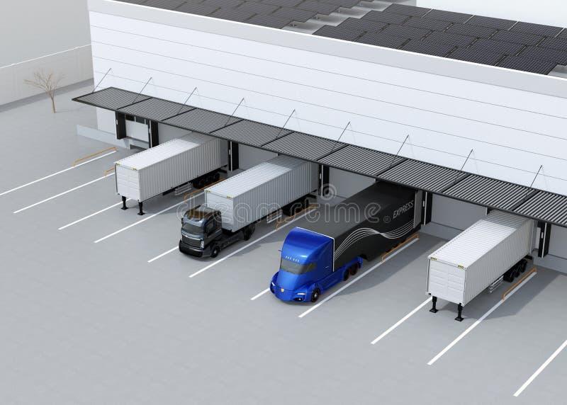 停放在现代后勤学中心前面的电卡车 在屋顶登上的太阳电池板 皇族释放例证