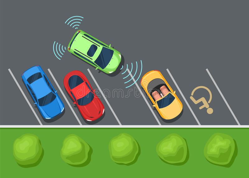 停放的协助系统安全,巧妙的汽车 皇族释放例证