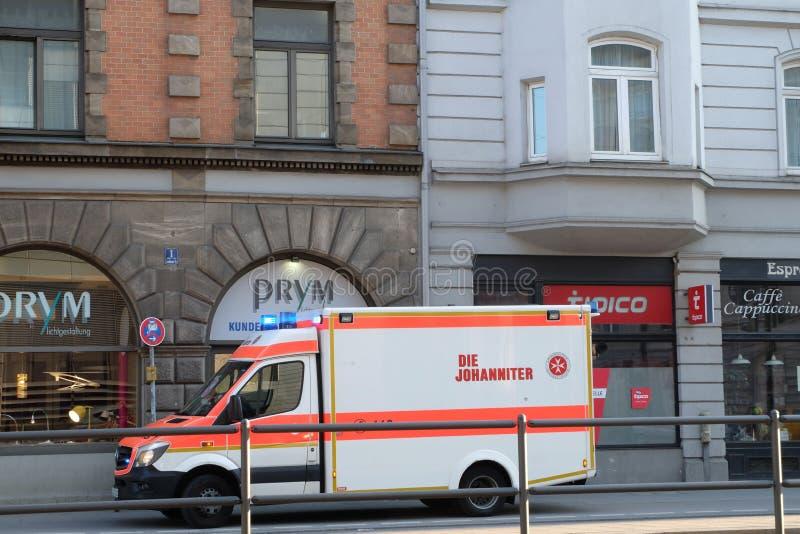 停放的救护车在慕尼黑 免版税库存照片