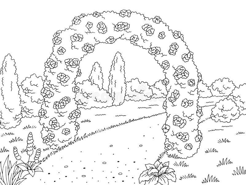 停放花曲拱图表黑白色风景剪影例证传染媒介 向量例证