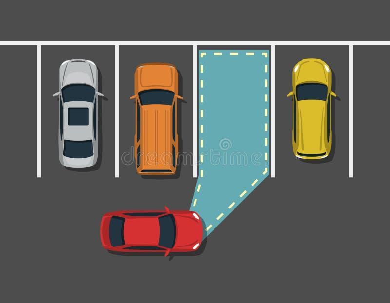 停放顶视图的自治汽车 库存例证