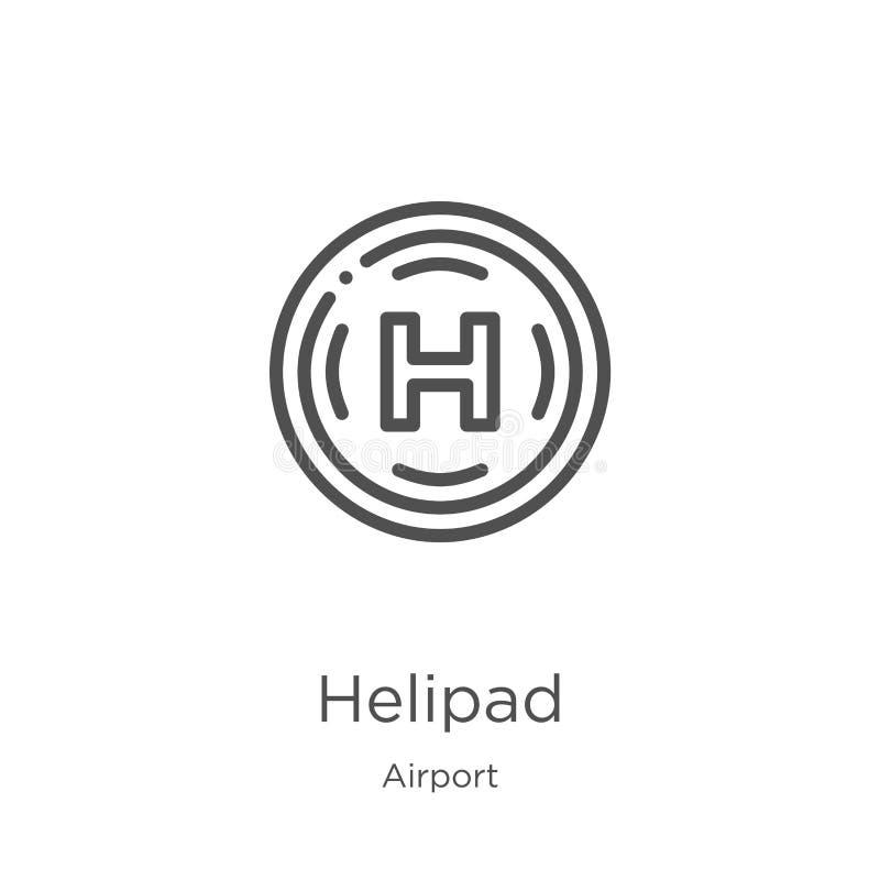停机坪从机场汇集的象传染媒介 稀薄的线停机坪概述象传染媒介例证 概述,稀薄的线停机坪象 库存例证