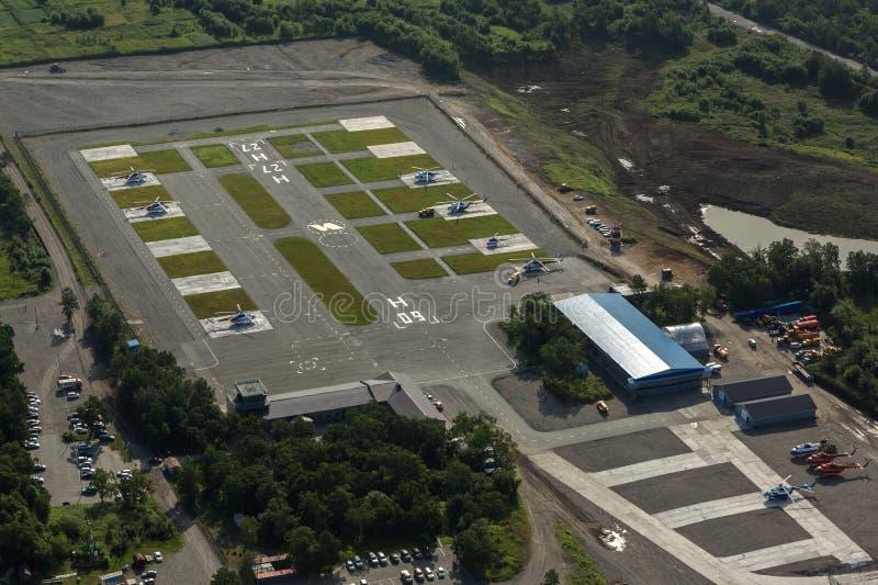 停机坪在Yelizovo镇 免版税库存照片