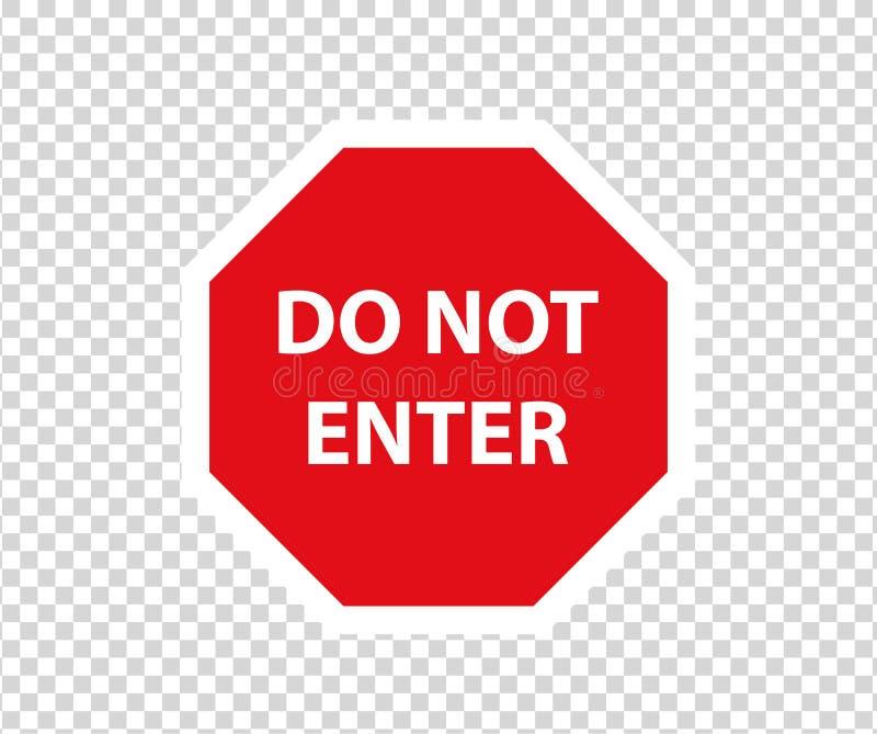 停止与手势的路标 新的红色不进入交通标志 小心禁令标志方向标 警告的停车牌 向量例证