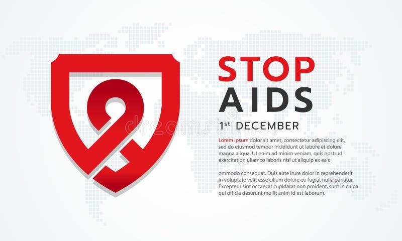 停止与红色丝带的援助横幅在抽象世界地图背景传染媒介设计的盾标志 库存例证
