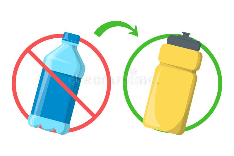 停止使用塑料瓶并且用可再用的容器替换 皇族释放例证