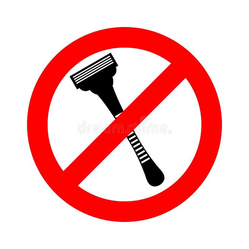 停止剃刀 禁止刮 剃刀禁令路标 向量例证