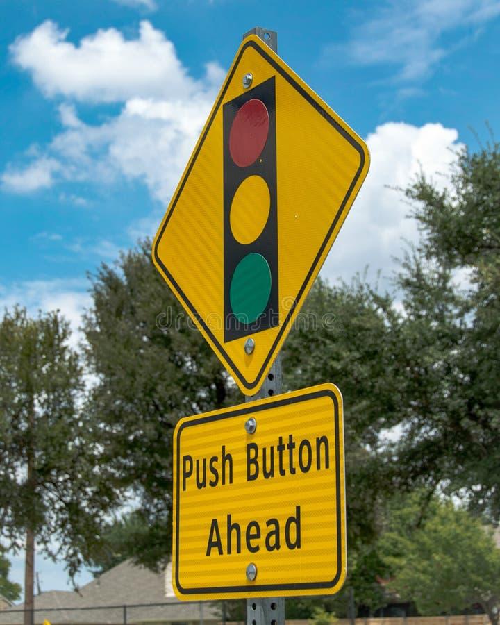 停止前面轻的按钮标志 库存图片