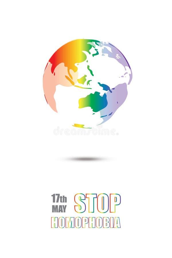 停止同性恋恐惧症 在lgbt旗子颜色的Earht 库存例证