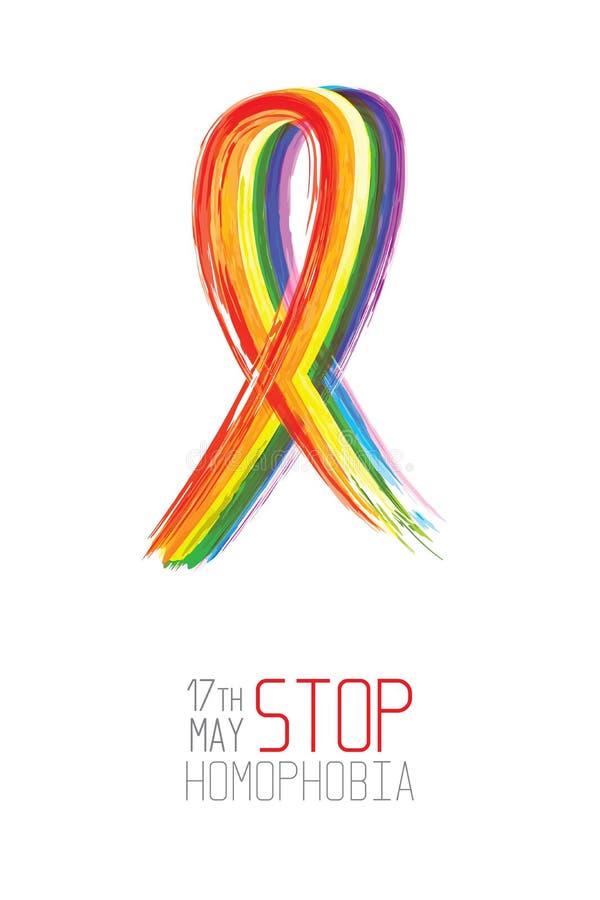 停止同性恋恐惧症 水彩彩虹丝带 向量例证