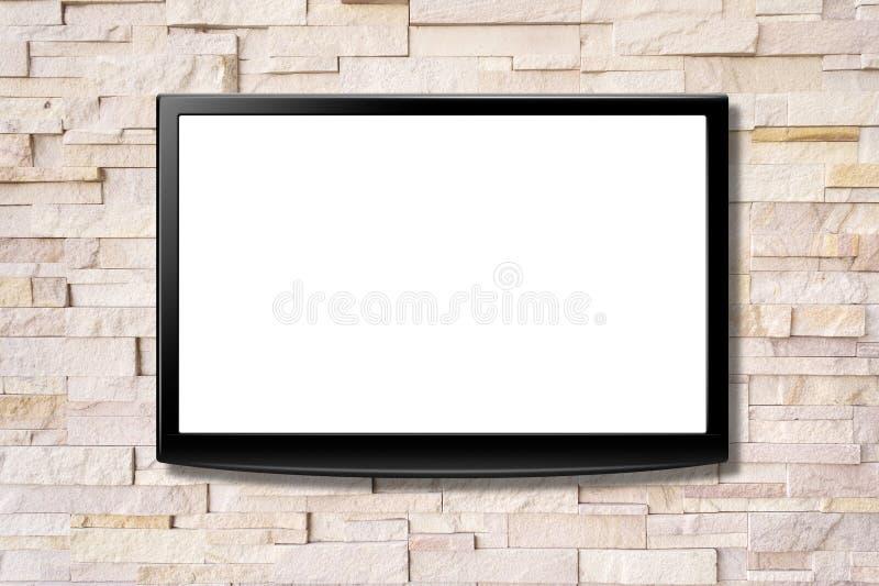 停止在墙壁上的黑屏LCD电视 库存照片