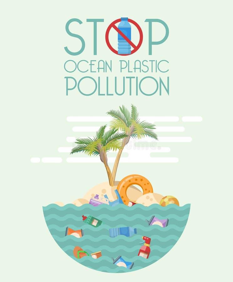 停止在平的设计的海洋塑料污染传染媒介例证 库存例证