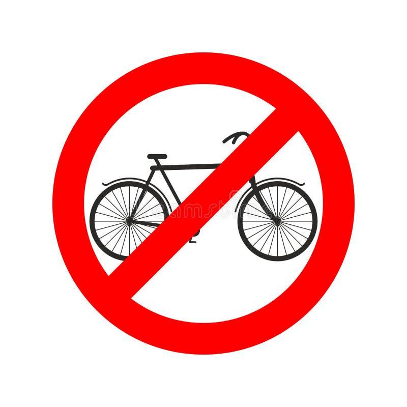 停止在红色圆环的骑自行车者自行车 路标禁令自行车骑士 皇族释放例证