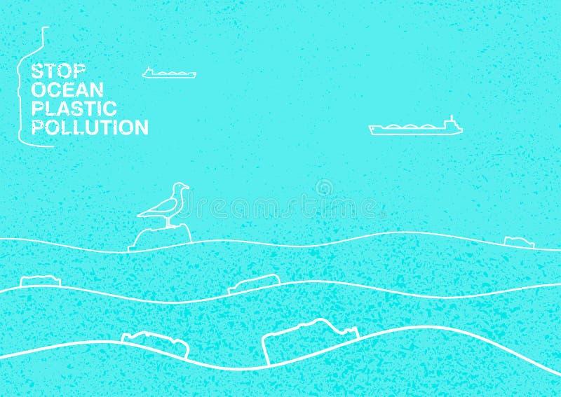 停止塑料污染海洋  在蓝色背景的生态概念海报与纹理 在海洋浮游物的波浪 库存例证