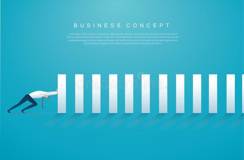 停止多米诺作用的商人 企业概念传染媒介例证EPS10 向量例证
